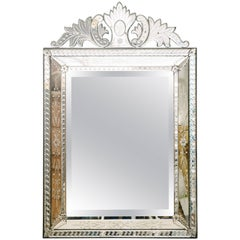 Venetian Glass Mirror, Etched and Beveled, circa 1920