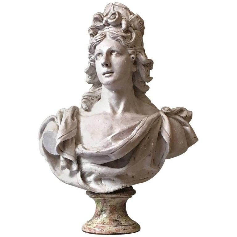 19th Century Italian Monumental White Glazed Terracotta Bust of Female Figure