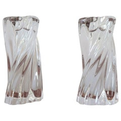 20th Century French Pair of Crystal Candlesticks by Baccarat