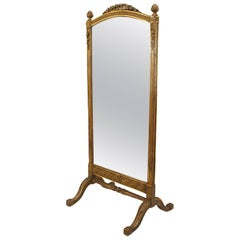 French Louis XVI Style '19th Century' Gilt Cheval Mirror