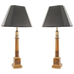 Pair of French Charles X Column Form Table Lamps