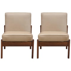 Modern Pair of Rosewood Slipper Chairs with Tan Leather