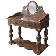 French Louis Philippe Griotte Rouge Marble Console/Bar Table or Dressing Table