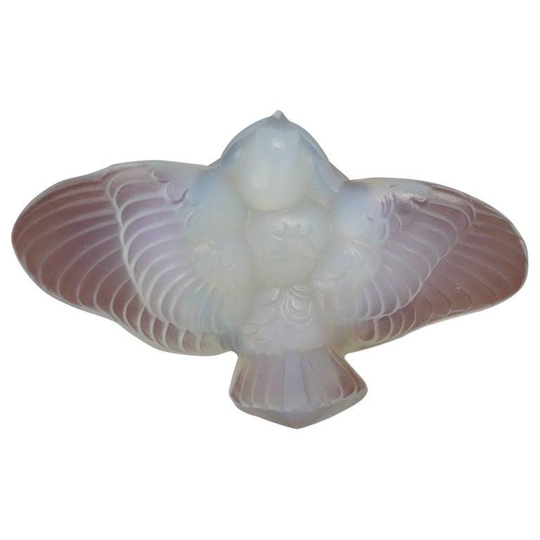 French Art Deco Opalescent Glass Bird by Ernest Marius Sabino