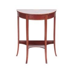 Quality Edwardian Inlaid Mahogany Demilune Console Table