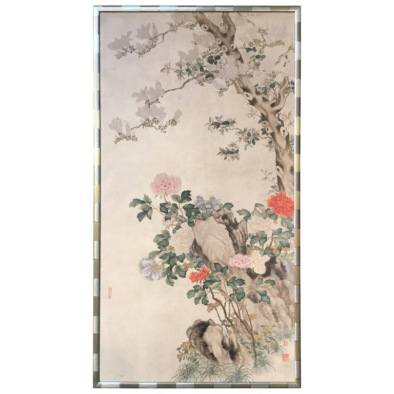 Modern Framed Chinese Hand-Painted Chinoiserie Wallpaper Style Panel For Sale