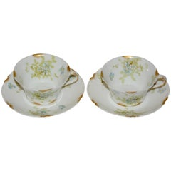 Limoges Haviland H & C Van Heusen Charles Co. New York Pair of Cup and Saucers