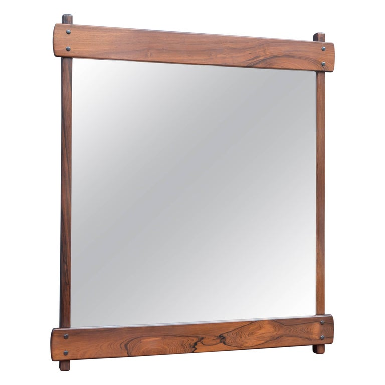 Sergio Rodrigues Rosewood Wall Mirror For Sale