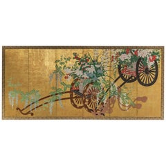 Pair of Festival Carts with Flower Arrangements
