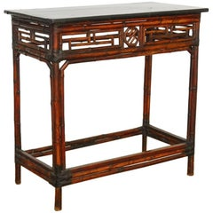 Chinese Chippendale Style Lacquered Bamboo Console Table
