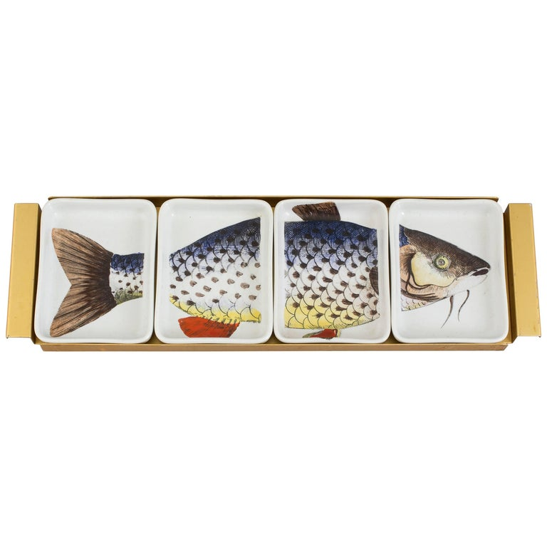Piero Fornasetti Porcelain Fish Appetizer Hors D'oeuvre Tray, Pesces, 1960