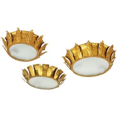 Set of Three Brutalist Hammered Gilt Iron Crown Sunburst Ceiling Light Fixtures