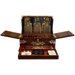 Antique English Golden Oak Games Box Tantalus, circa 1880