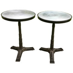 Pair of Round Midcentury Side Tables, Cast Iron Base with Aluminium Tops, France