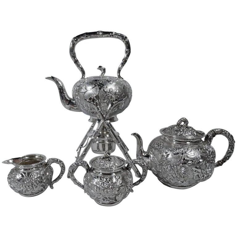 Antique Chinese Silver Chrysanthemum Tea Set