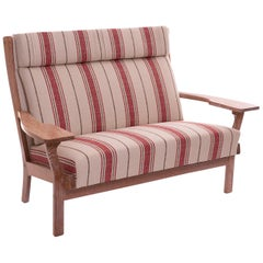 Hans Wegner Cerused Oak Paddle Arm Sofa