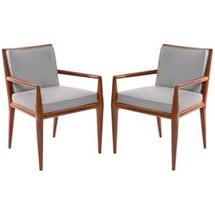 T.H. Robsjohn-Gibbings Widdicomb Walnut Leather Armchairs