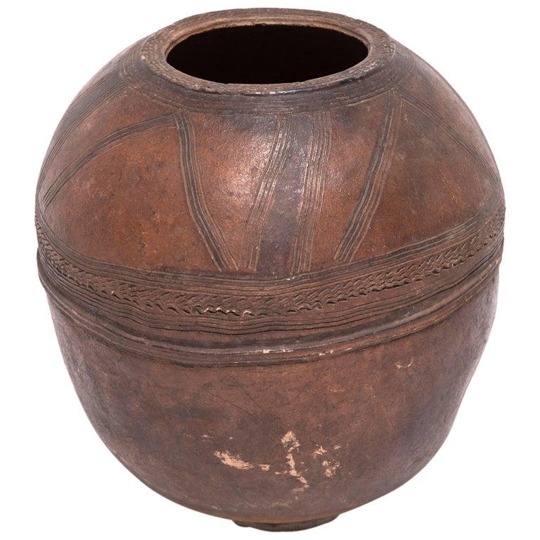 Nigerian Nupe Incised Water Vessel