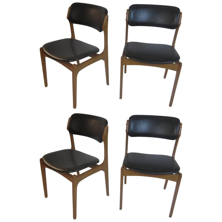 Erik Buch for O.D. Mobler A-S Set of Four Dining Chairs