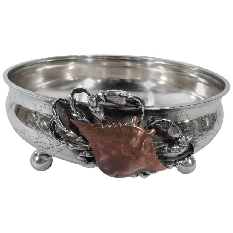 Whiting Japonesque Sterling Silver and Mixed-Metal Marine Bowl with Crab