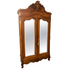 19th Century Two-Door Bevelled Mirror Front Armoire / Wardrobe Louis XV Style