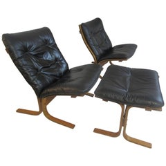 Westnofa Siesta Leather Chairs and Ottoman by Ingmar Relling