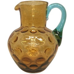 20th Water Jug or Glass Pitcher in Yellow and Blue Murano Glass