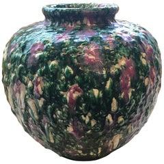 Awaji Studio Thrown Stoneware Vase in Tri-Color Volcanic Glaze & Crackle Effect