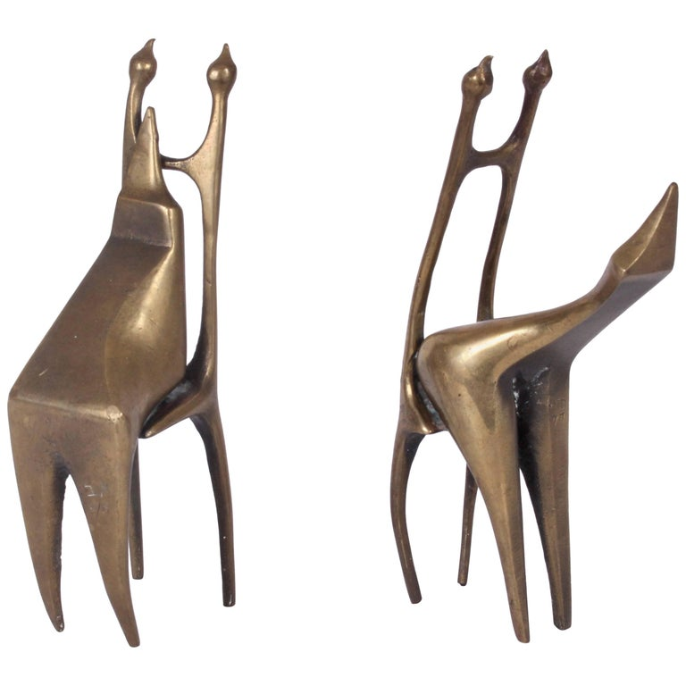 Signed Small Pair of Abstract Modern Figurative Bronze Sculptures, 1977 For Sale