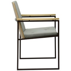 """CAD"" Armchair in Stainless Steel and Pau Ferro Wood"