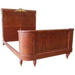 19th Century French Louis XVI Style Burl Wood Inlaid Mahogany Full Size Bed