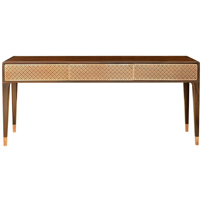 """Mahal"" Console Table Laser Cut Art Deco Pattern ""Imbuia"" Wood For Sale"
