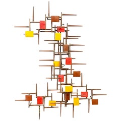 Midcentury Enameled Metal and Nail Wall Sculpture, Syd Godfrey