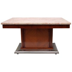 1920s Art Deco Dining Table with Pink Marble Top and Metal Covered Pedestal Base