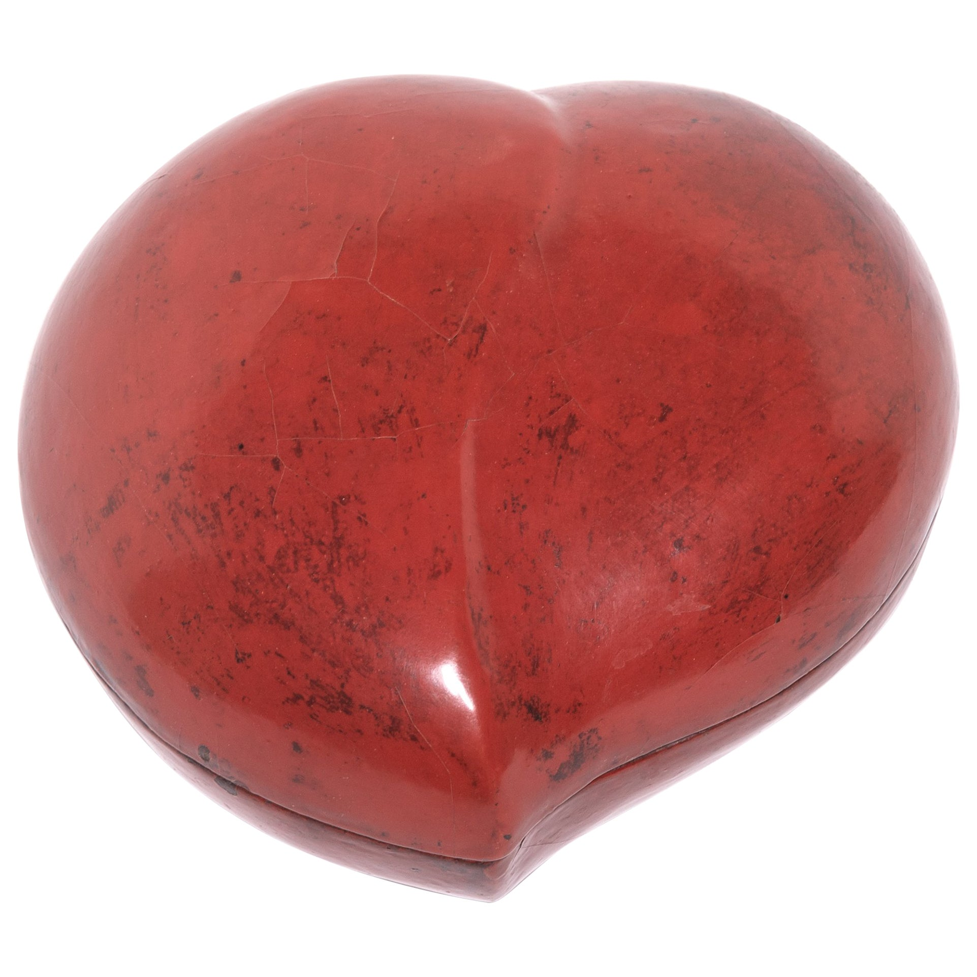 Chinese Red Lacquer Peach Form Presentation Box, c. 1850