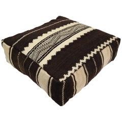 Moroccan Kilim Pouf  Vintage Ottoman  Wool Morocco Floor Cushion