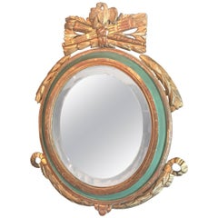 Louis XVI Style Paint and Giltwood Looking Glass Mirror with Bevelled Plate