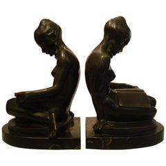Josef Lorenzl Pair of Bronze Bookends, Naked Lady, Austria, 1920