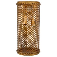 Hollywood Regency Gilded Umbrella Stand with Tassels, 1950s, Italy