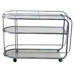Curved Moderne Style Three-Tiered Chrome Bar Cart or Tea Trolley