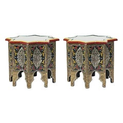 Pair of Hand-Painted, Brass Inlaid Moorish Side Tables