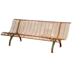 Early 20th Century French Iron Garden Bench with Curved Back and Seat
