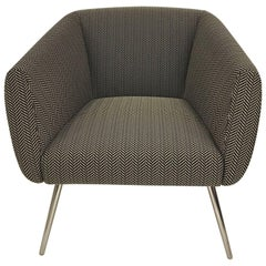 Mundo Black and White Herringbone Fabric Armchair Polished Chrome Legs by Leolux
