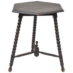 Mid-20th Century Bobbin Side Table with Hexagonal Top, France