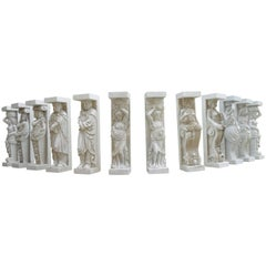 1950-1970 Set of 12 Antique White Marble Statues