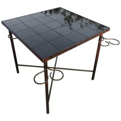 Jacques Adnet Leather and Brass Square Table, Black Ceramic Top, France, 1950s