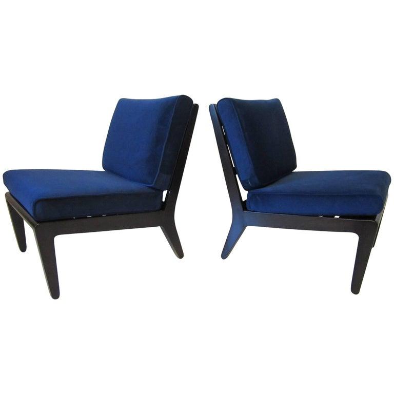 Edward Wormley Ebony Finished Slipper Chairs for Drexel