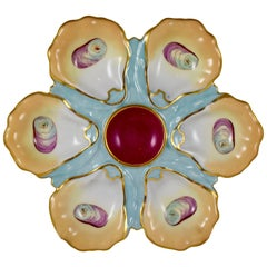 French Porcelain Hand-Painted Magenta Center Gilded Oyster Plate