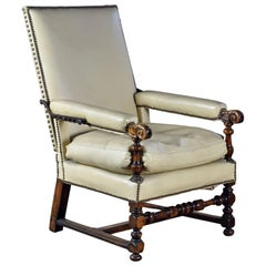 French 17th Century Walnut and Leather Covered Reclining or Ratchet Chair