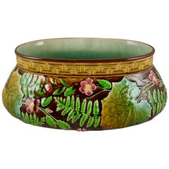 French Choisy-le-Roi Greek Key and Fern Large Majolica Barbotine Jardinière